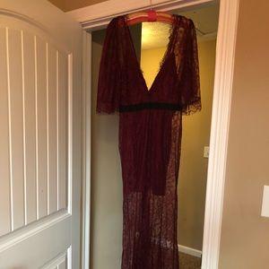 Lace sleeve deep red long dress.